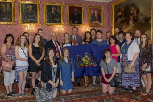 Der Besuch aus Pennsylvania mit Bürgermeister Mathias Stadler, sowie Partnerschaftskomitee Obmann Edwin Flatschart und Doris Vorlaufer, zuständig für internationale Kontakte im Magistrat.